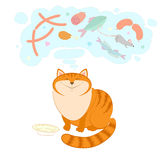 Illustration with a cat who dreams about delicious food. Royalty Free Stock Photography