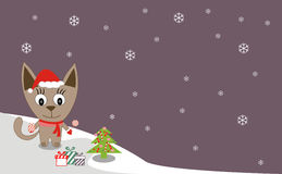 Illustration of a cat. Winter walking Royalty Free Stock Photos