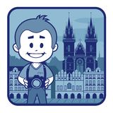 Illustration with catedral in Czech Republic Royalty Free Stock Image