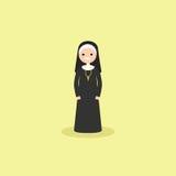 Illustration of a Catholic christian nun wearing black and white Stock Photography