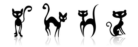 Illustration cats. There are four cats sitting and standing on the white floor vector illustration