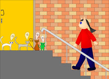 Illustration of cats waiting for their owner Royalty Free Stock Images