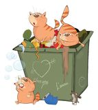 Illustration of a Cats and Waste Container Royalty Free Stock Photography