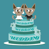 Illustration cats on a wedding cake on a blue background. Illustration cats on a wedding cake Stock Image