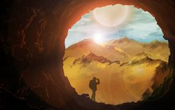 Illustration, a food on a background of beautiful mountains, the sun royalty free illustration