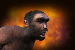 Caveman, Neanderthal, Ancient Man, Human. Illustration of a caveman or neanderthal man. The ancient ancestor human has an orange background stock images