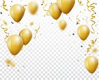 Celebration background with gold confetti and balloons. Illustration of  Celebration background with gold confetti and balloons Royalty Free Stock Image