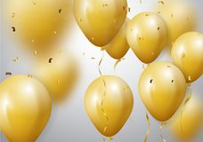Celebration with Gold Balloon and confetti. Illustration of Celebration with Gold Balloon and confetti Stock Image
