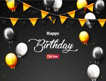 Celebration Happy Birthday Party Banner With Golden Balloons. Illustration of Celebration Happy Birthday Party Banner With Golden Balloons Royalty Free Stock Images