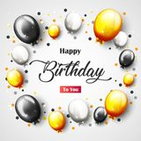 Celebration Happy Birthday Party Banner With Golden Balloons. Illustration of Celebration Happy Birthday Party Banner With Golden Balloons Stock Images