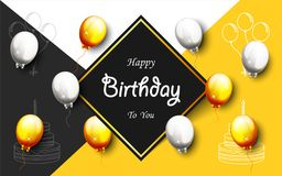 Celebration Happy Birthday Party Banner With Golden Balloons. Illustration of Celebration Happy Birthday Party Banner With Golden And Silver Balloons Royalty Free Stock Photo
