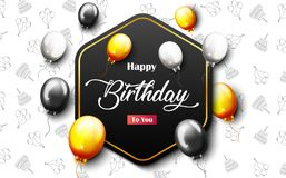 Celebration Happy Birthday Party Banner With Golden Balloons. Illustration of Celebration Happy Birthday Party Banner With Golden And Silver Balloons Royalty Free Stock Photography