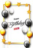 Celebration Happy Birthday Party Banner With Golden Balloons. Illustration of Celebration Happy Birthday Party Banner With Golden And Silver Balloons Stock Photography