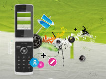 Illustration of a cellular phone. With patterns on the background Royalty Free Stock Photos