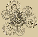 Illustration of celtic disk ornament with triple spiral symbol. Royalty Free Stock Image