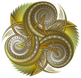 Illustration of celtic disk ornament with triple spiral symbol. Royalty Free Stock Photography