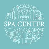 Illustration centrale de bannière de station thermale avec la ligne plate icônes Huiles essentielles, massage d'aromatherapy, ham illustration libre de droits