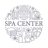 Illustration centrale de bannière de station thermale avec la ligne plate icônes Huiles essentielles, massage d'aromatherapy, ham illustration stock