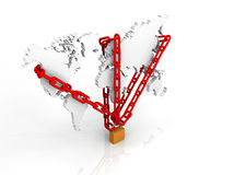 Illustration of chain and lock around a world m Royalty Free Stock Photos