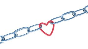 Illustration of chain with red heart isolated on white background Royalty Free Stock Image