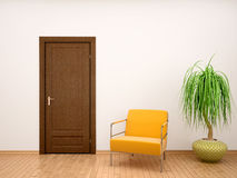 Illustration of chair and flower pot near the door Royalty Free Stock Photos