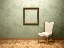 Illustration of chair frame in the green room Royalty Free Stock Photo