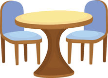 Illustration of chair and table. On white background Royalty Free Stock Photo