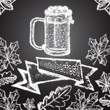 Illustration of chalk painted beer mug, ornament Royalty Free Stock Image
