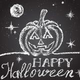 Illustration of chalk painted pumpkin, moon, shiny Stock Photo