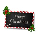 Chalkboard style greeting card for christmas with candy frame Stock Photography
