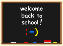Illustration of a chalkboard with welcome back to school text ov Royalty Free Stock Photo
