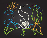 Illustration of chalked character. In the forest on blackboard Royalty Free Stock Photos