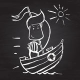 Illustration of chalked character. Illustration of funny chalked character on blackboard Stock Photos