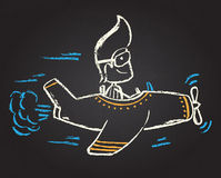 Illustration of chalked character. Illustration of funny chalked character on blackboard Royalty Free Stock Photos