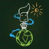Illustration of chalked character. On green blackboard Stock Photos