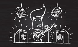 Illustration of chalked character with guitar. On blackboard Royalty Free Stock Image