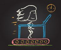 Illustration of chalked character. On run track Royalty Free Stock Photo