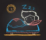 Illustration of chalked character. Illustration of vector  chalked character sleeping on the bed Stock Images