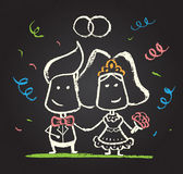 Illustration of chalked happy engaged couple Stock Photos