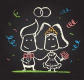 Illustration of chalked happy engaged couple. On blackboard vector illustration