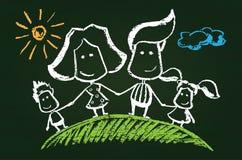 Illustration of chalked happy family. On blackboard Royalty Free Stock Photos
