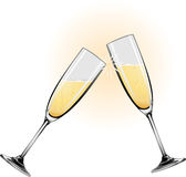 Illustration champagne glasses. Illustration of champagne glasses knocking together during a toast Stock Photo