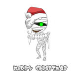 Illustration  Character: The Mummy wish You Merry Christmas! Royalty Free Stock Photo