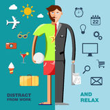 Illustration with character in the office and on vacation with icons set. Stock Photography