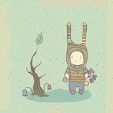 Illustration with character and tree Royalty Free Stock Photos