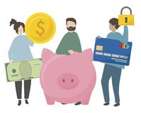 Illustration of characters with secured finance vector illustration