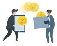 Illustration of characters transacting money vector illustration