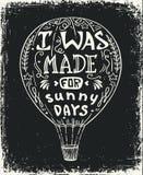 Illustration chaude de vecteur de ballon à air, marquant avec des lettres l'affiche de typographie avec la citation positive Images libres de droits
