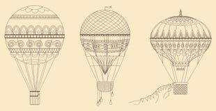 Illustration chaude de vecteur de ballons à air de vintage Ligne mince collection de baloon Photo libre de droits