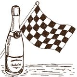 Checkered flag and champagne drawing Stock Images